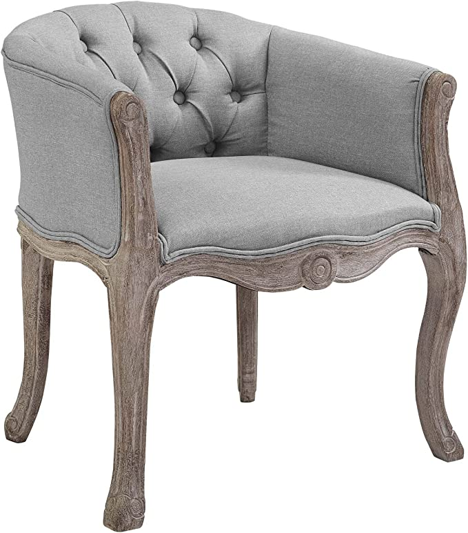Modway Crown French Vintage Barrel Back Tufted Upholstered Fabric Dining Armchair In Light Gray Chairs
