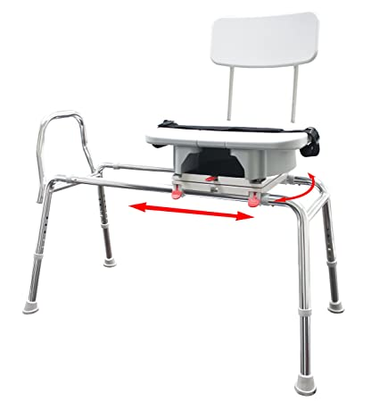 Eagle Health Supplies   Swivel Sliding Bath Transfer Bench With Replaceable  Cut Out Seat (