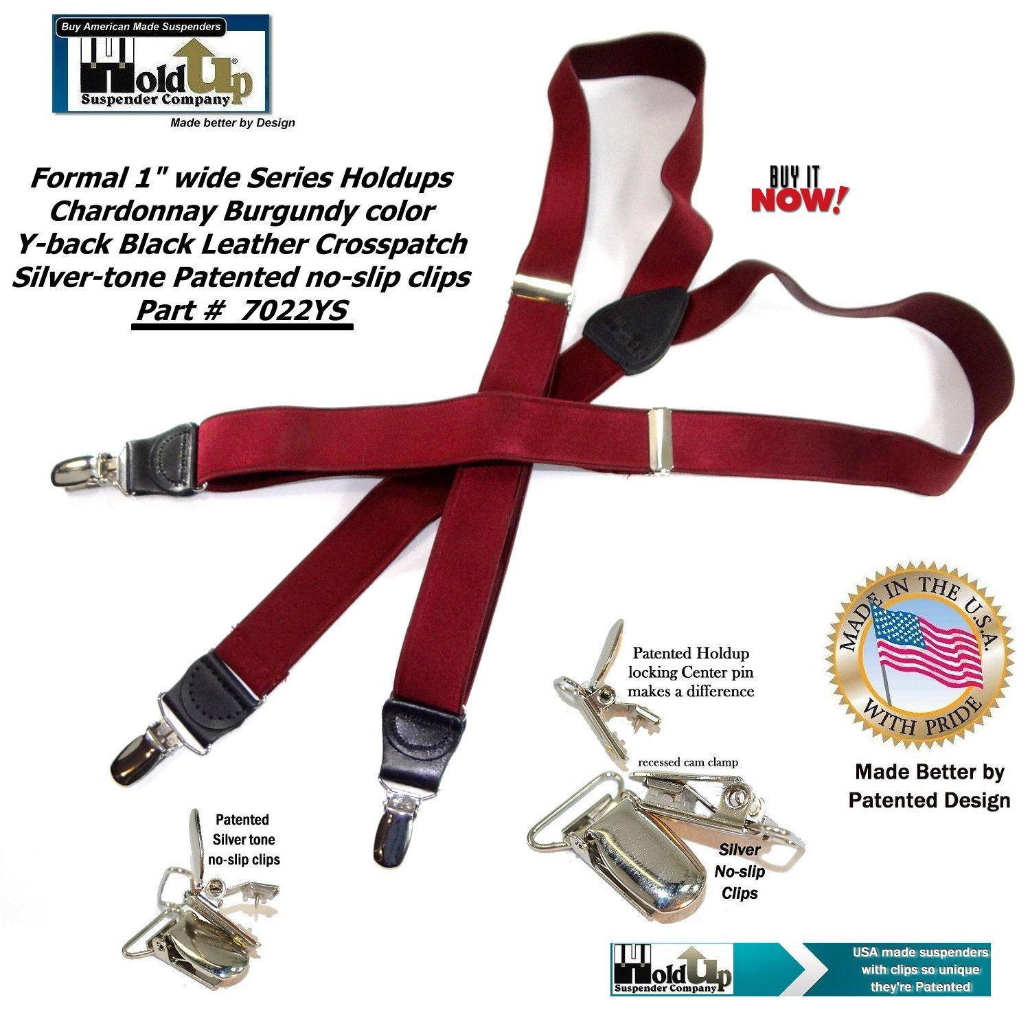 Holdup Suspender Companys Y-back Formal Series Chardonnay Burgundy Wine Colored Mens Suspenders with Silver No-Slip Clips