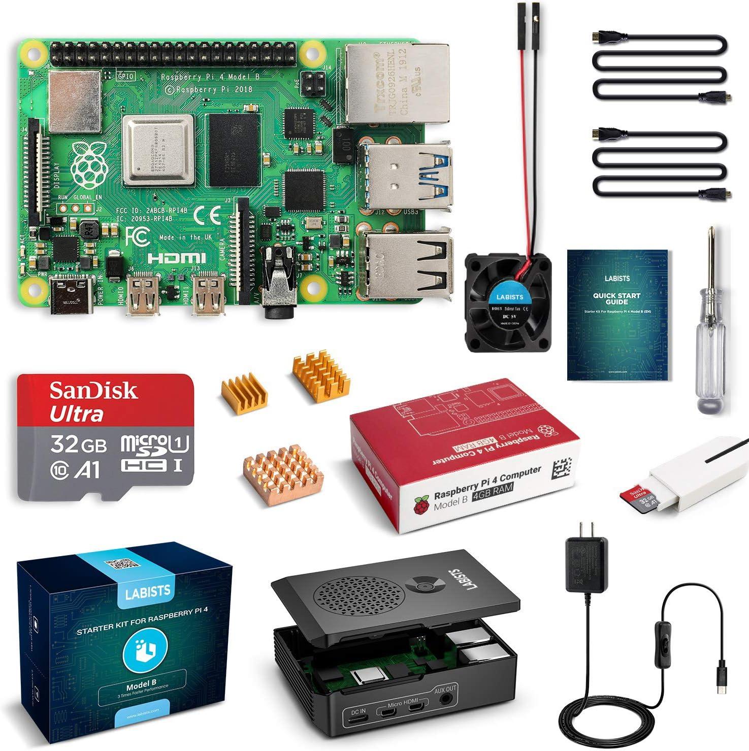 LABISTS Raspberry Pi 4 4GB Starter Kit with 32GB Micro SD Card Preloaded Noobs, Black Case, Heatsink Fan, Micro HDMI Cable x 2, SD Card Reader (4GB RAM)