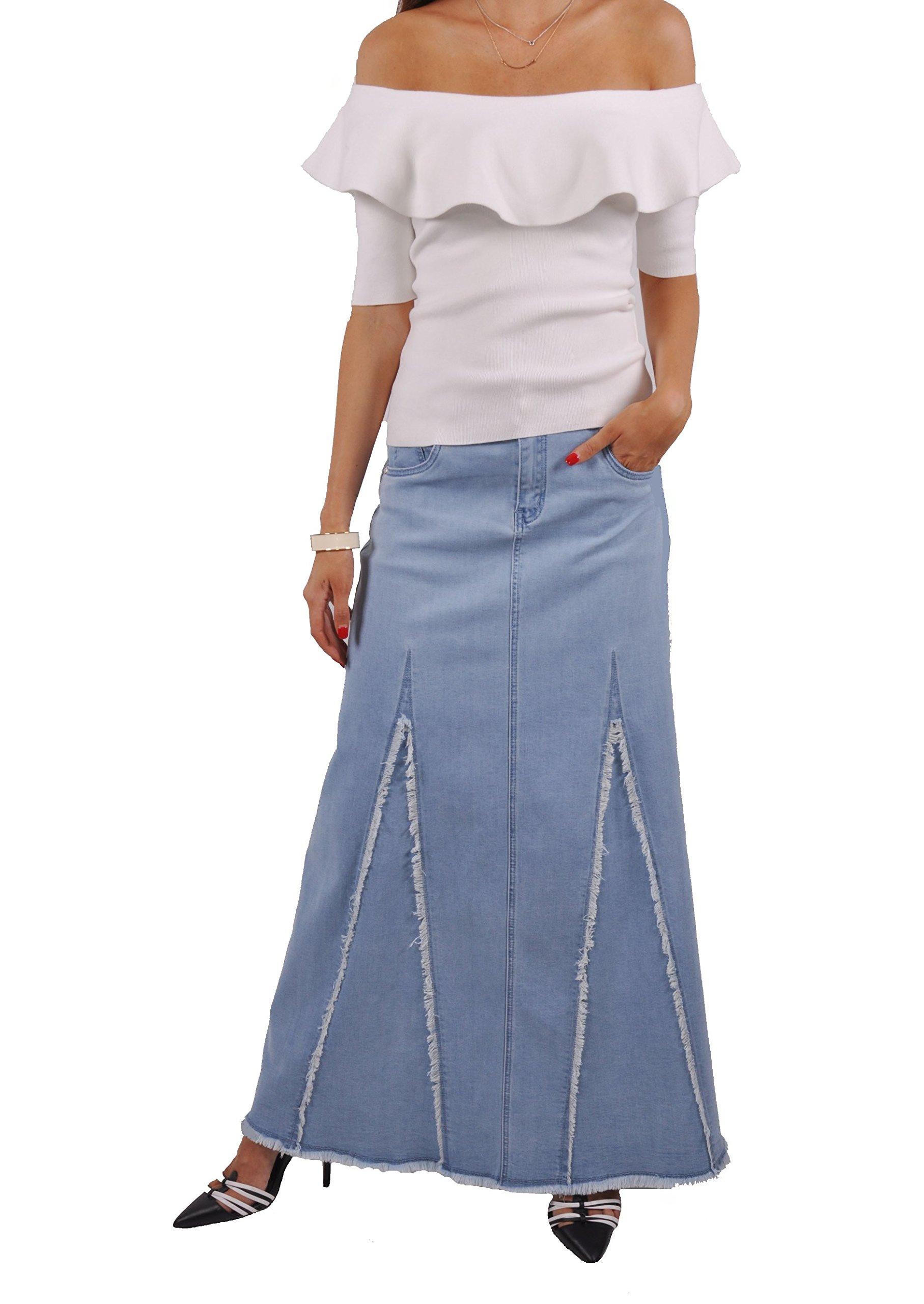 Style J Sassy Fringed Long Denim Skirt-Blue-30(10)