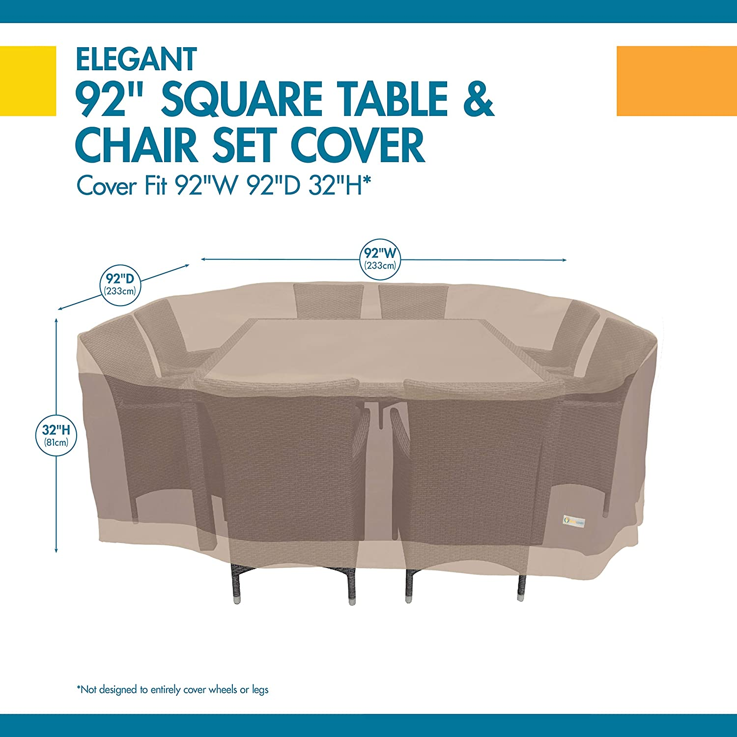Duck Covers Elegant Water-Resistant 92 Inch Square Patio Table /& Chair Set Cover