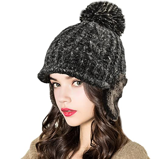 3608ec878abb4 Image Unavailable. Image not available for. Color  ELLEWIN Women Winter  Thick Fleece Lined Visor Beanie