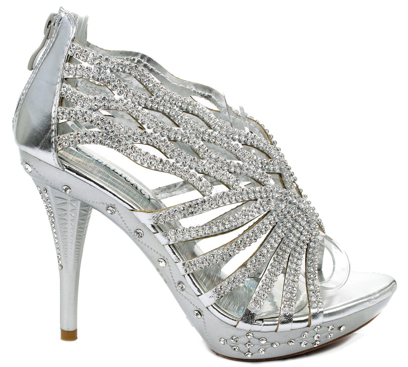 Delicacy Decent76 Dazzling Rhinestone Wave Cut Out Strappy Evening Dress High Heel Pump Sandals B00W4WXYZU 5.5 B(M) US|Silver