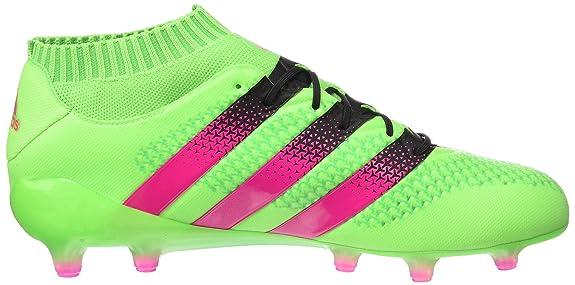 adidas Ace 16.1 Primeknit SG, Chaussures de Football Homme, Vert/Rose/Noir (Versol/Rosimp/Negbas), 45 1/3 EU