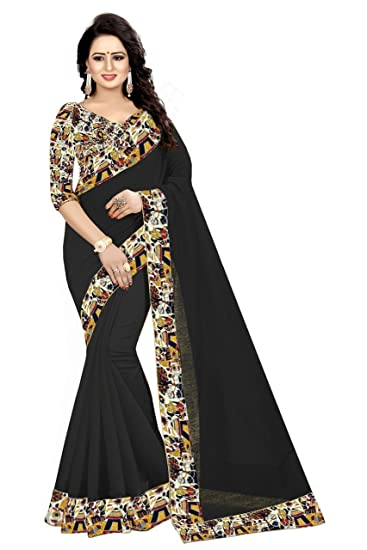 59b5b5078 Jala Creation Chanderi Cotton Sarees with Blouse Piece Beautiful and  Georgues Blouse Print (Black