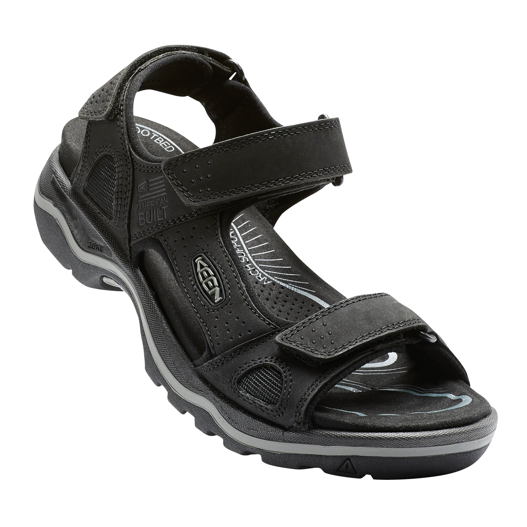 KEEN Men's Rialto 3 Point Sandal, Black/Neutral Gray, 11.5 M US
