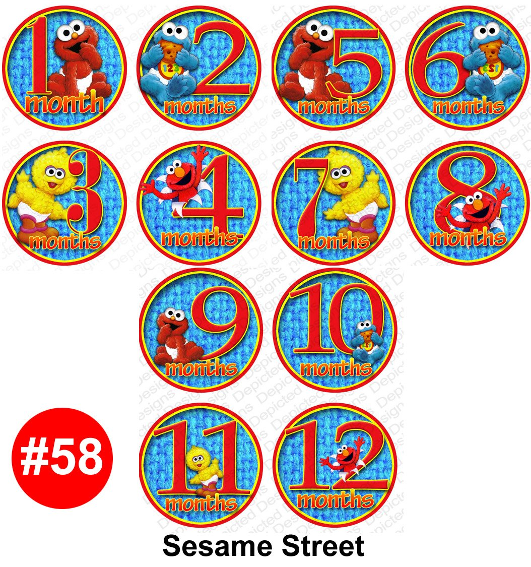 Amazon.com : Monthly Onesie Sticker Set Of 12   SESAME STREET Baby Month  Onesie Stickers Baby Shower Gift Photo Shower Stickers, Choose 1 Of 9  Designs By ...