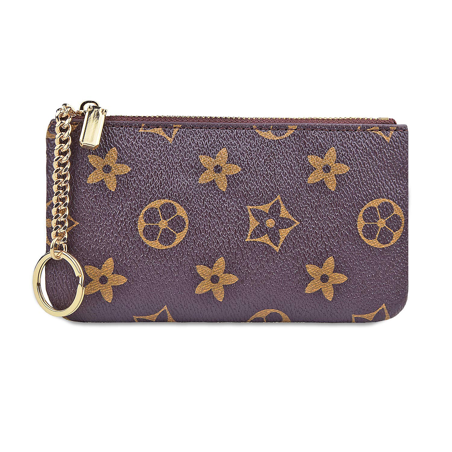 RBEIK Luxury Checkered PU Vegan Leather Zip Mini Womens Coin Pouch Women Mini Coin Purse Checkered Beige Credit Card Holder Pouch with Key Ring