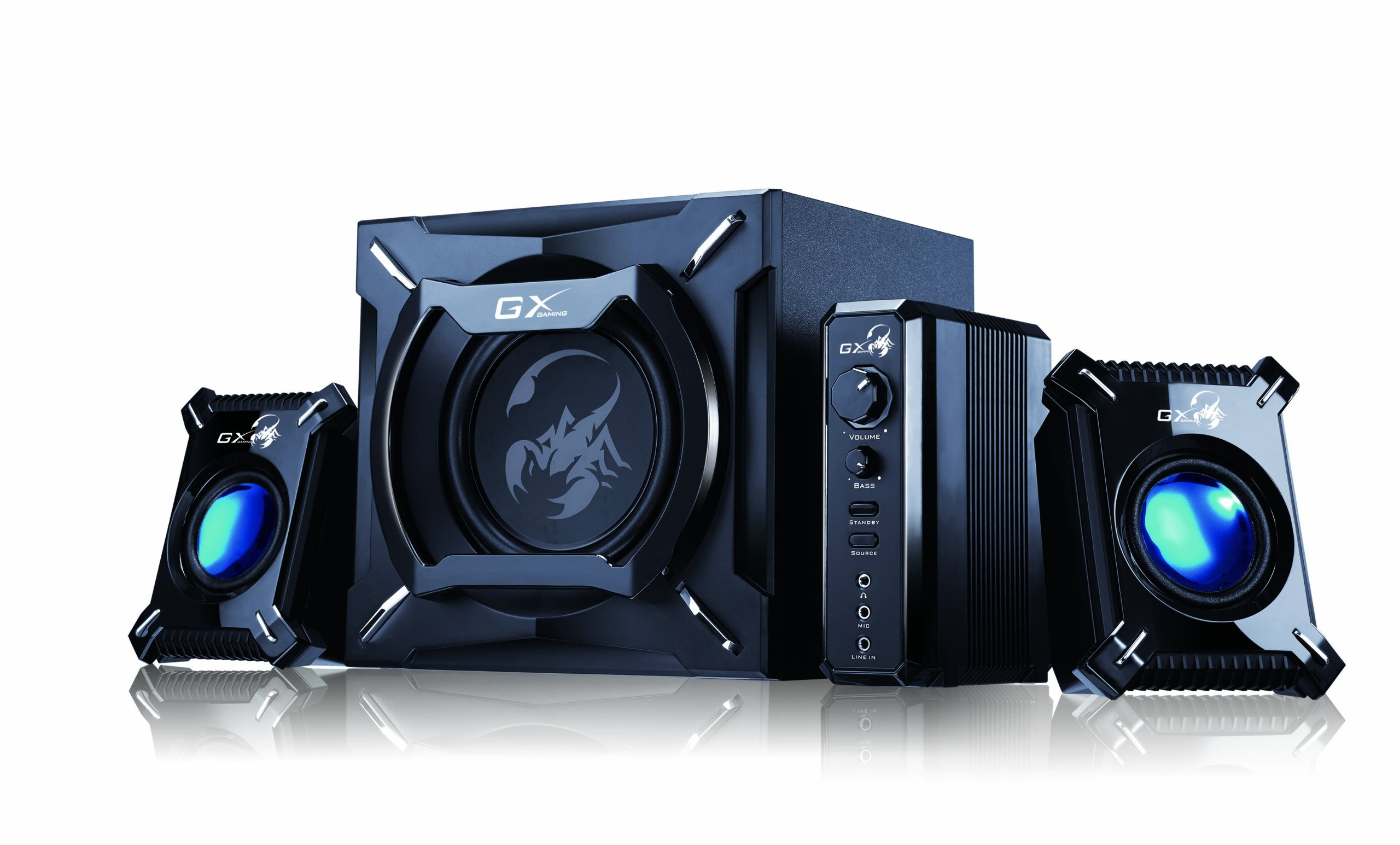 Genius SW-G2.1 2000 2.1 Channel 45 Watts RMS Gaming Woofer Speaker System for Android, Apple Devices, Tablets, Laptops, PC
