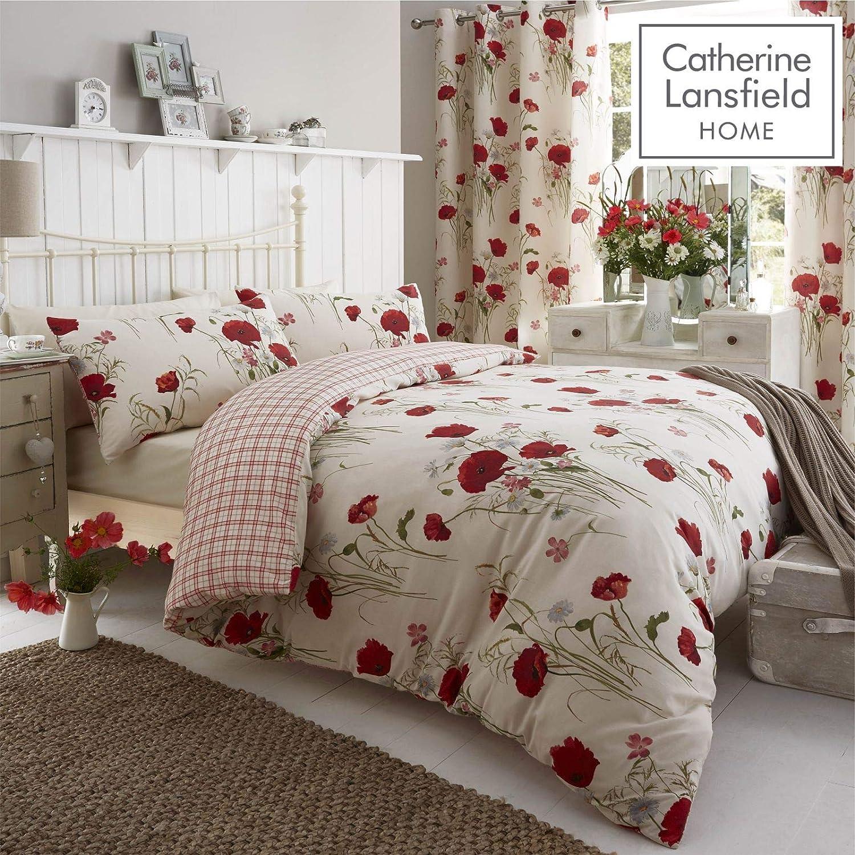 Polka Dot Catherine Lansfield Canterbury Grey Duvet Cover Set Reversible Floral