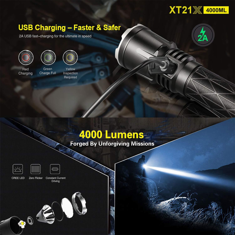Linterna de polic/ía profesional 4000 l/úmenes XT21X Klarus Advanced Tactical linterna LED recargable de polic/ía recargable USB recargable 18650 IMR bater/ía 4000 l/úmenes, 1040 pies
