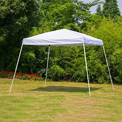 Erommy Outdoor Pop Up Canopy Tent Portable Slant Leg Shelter Foliding Canopy with Carry Bag,10×10 FT White