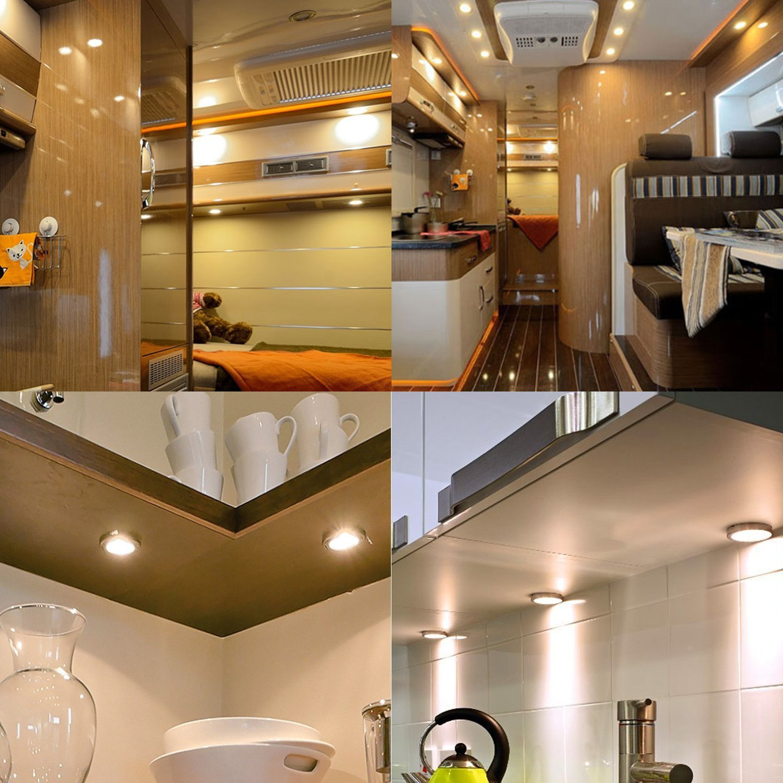 camion camionnette camping-car bateau remorque caravane 12V Blanc chaud Lumi/ères du cabinet avec s/éparateur et chargeur de voiture pour RV transporteur Kit de lumi/ères LED int/érieur de voiture