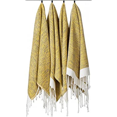 [SET OF 4] Unique Turkish Cotton Peshtemals & Towels - Size (20  x 31 ) Travel, Bath, Spa, Sauna, Beach, Gym, Pool, Beach, Yoga, Hand, Face - Super Soft Quick Dry and Highly Absorbent Towels, Yellow