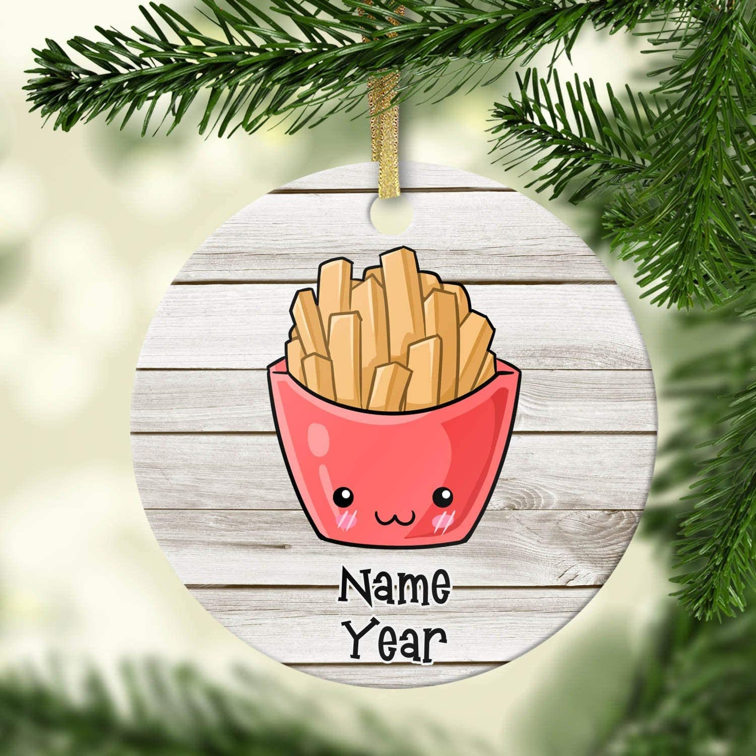 Lplpol French Fries Christmas Ornament - Personalized Ceramic Christmas Ornament - Name Date - Porcelain - Holiday Decorations - Custom - Fast Food - Christmas Ornament for Kids