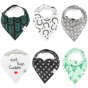 Baby Bandana Drool Bibs for Drooling Teething by BG Mini 4 Pack Absorbent Organic Cotton Gift Set Unisex