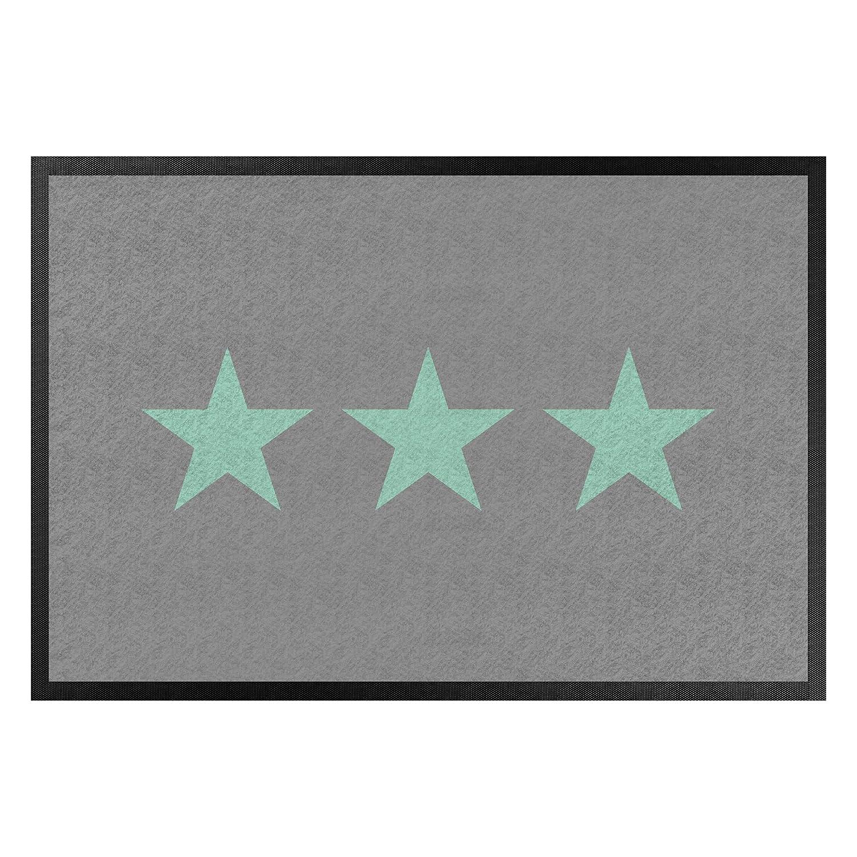 Bilderwelten Fußmatte Gummi Türvorleger Innen - - - Außenbereich DREI Sterne grau Mint 60 x 85 cm B07NS3YT53 Fumatten 4a28f7