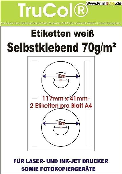 Etiqueta Etiquetas blancas 117 x 41 en el formato DIN A4. 25 ...