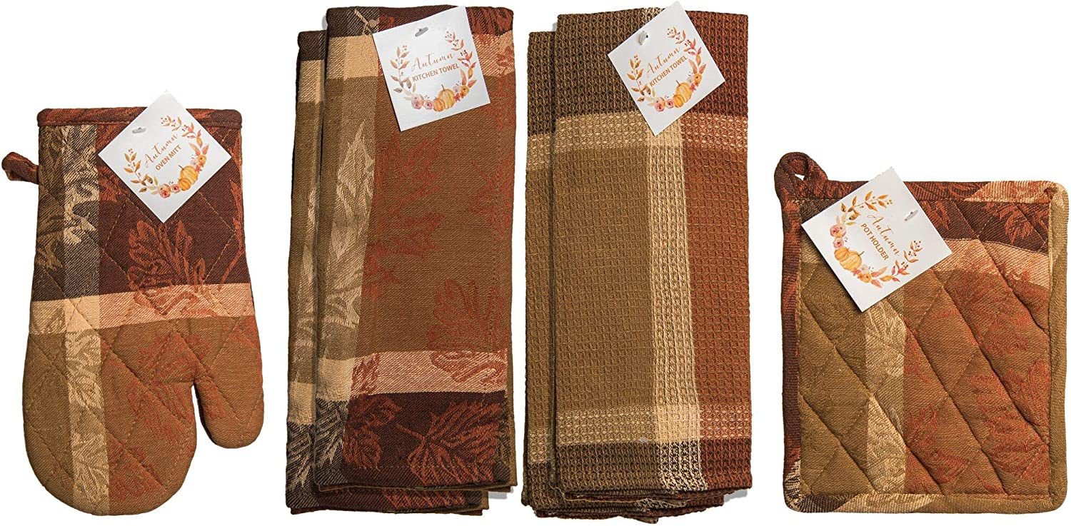 Nidico Seasonal Print Kitchen Towel Bundle Includes Oven Mitt Pot Holder and 4 Towels (Jacquard)
