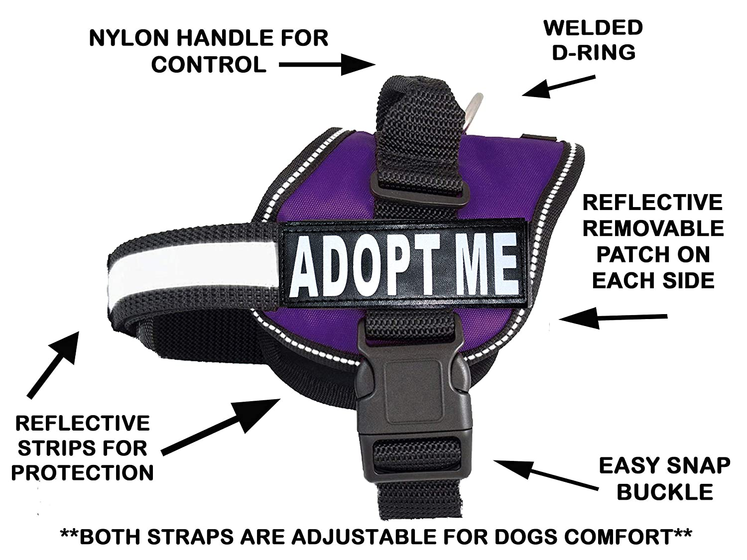 Purple Girth 14-18\ Purple Girth 14-18\ ADPOT ME Nylon Dog Vest Harness. Purchase Comes with 2 Reflective Removable Adopt ME Patches Please Measure Your Dog Before Ordering