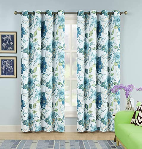 2pc Floral Grommet Blackout Curtains For Bedroom Curtains 84 Inch Length Window Curtains 84 Inches Long Room Darkening Curtains Navy Blue Curtains Teal Window Treatment Panels Set 104 Wide x 84 Long