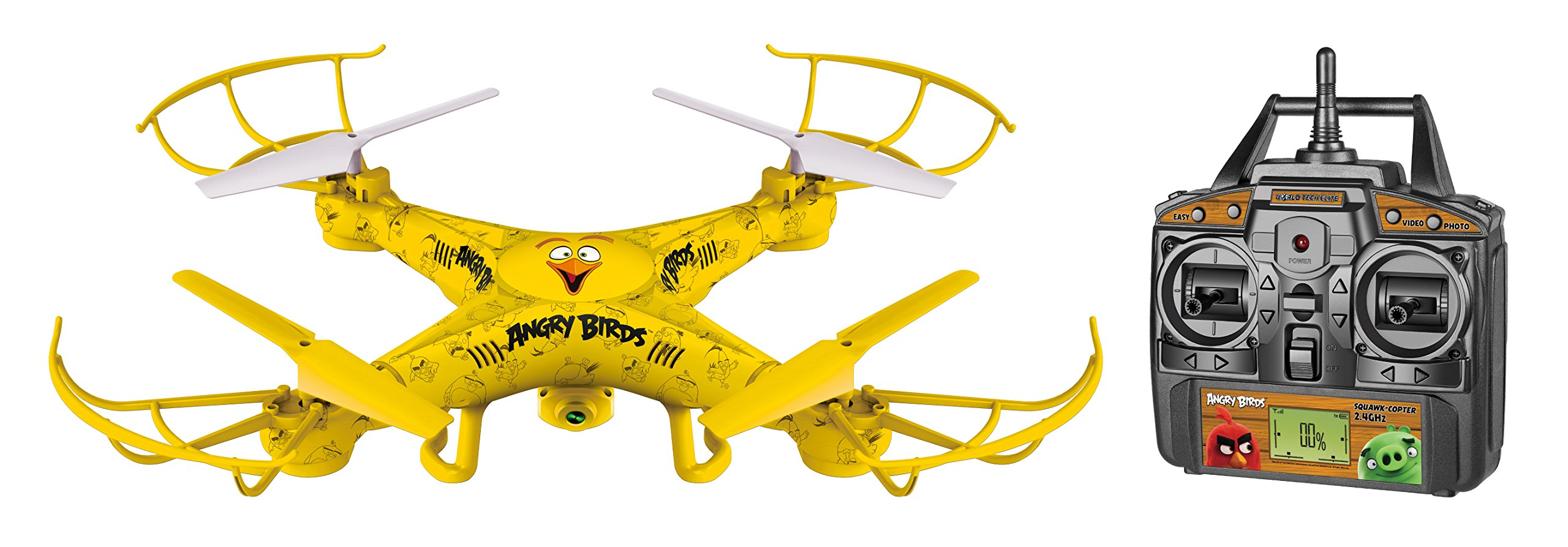 World Tech Toys Angry Birds Licensed Squak Copter CHUCK Camera Drone 2.4GHz 4.5CH Picture/Video Camera RC Quadcopter, Yellow, 22 x 4 x 14.5