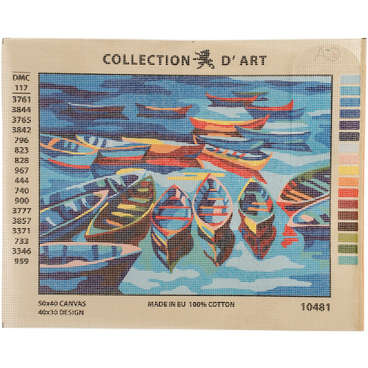 RTO Boats D'Art Needlepoint Printed Tapestry Canvas, 40 x 50cm 10481