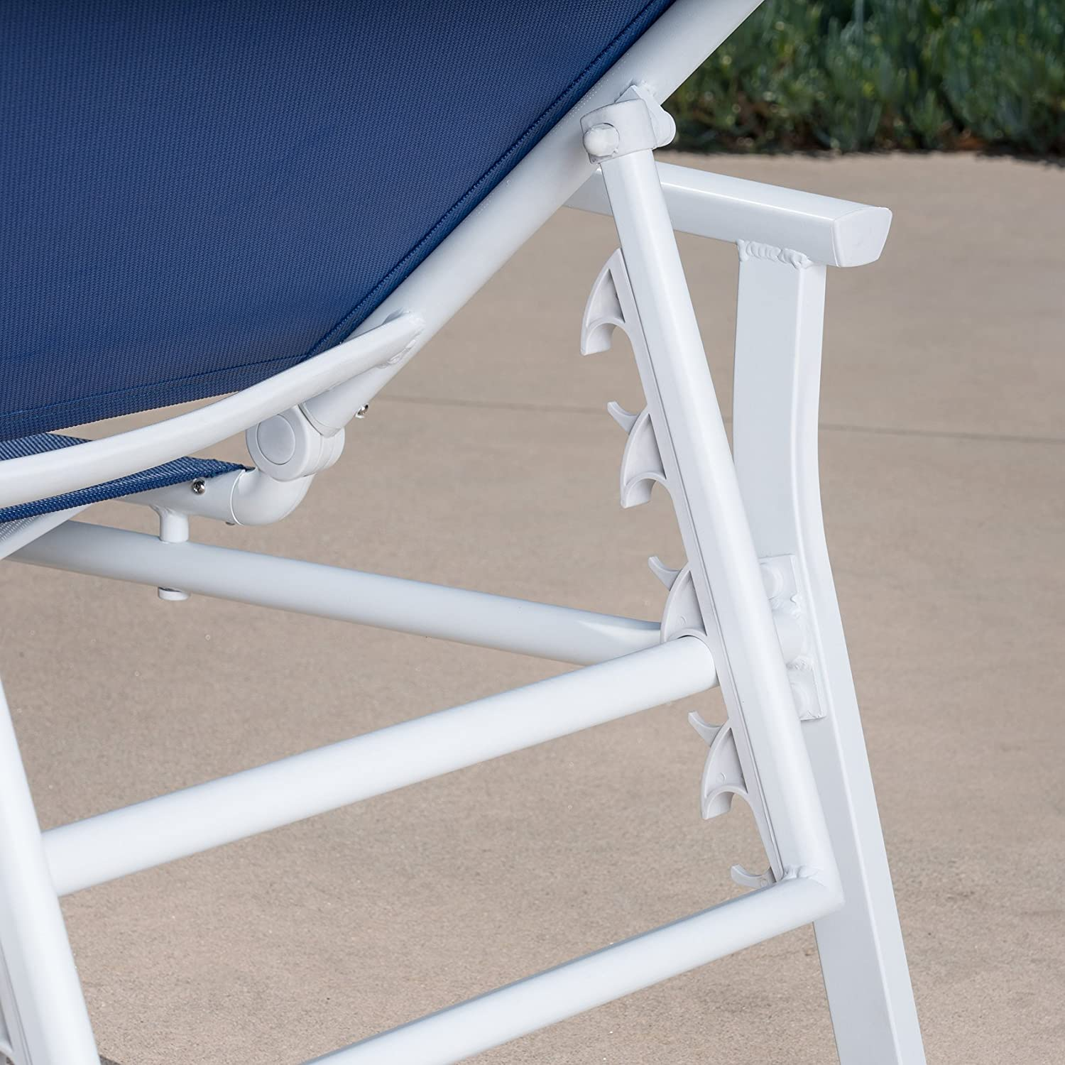 Navy Blue White Cambridge NOVACHS-NVY Sling Chaise