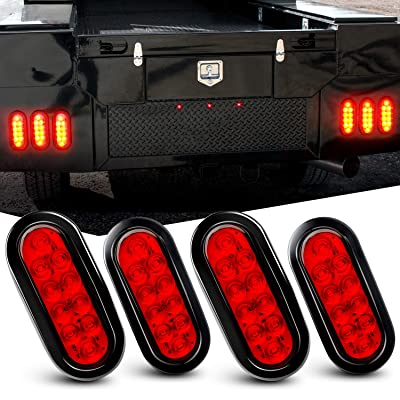 "Nilight 6"" Oval Red LED Trailer Tail Lights 4PCS 10 LED w/Flush Mount Grommets Plugs IP67 Waterproof Stop Brake Turn Trailer Lights for RV Truck Jeep, 2 Years Warranty: Automotive"