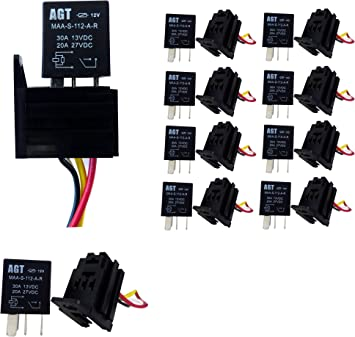 DC 10Pack 30A AMP 12V 5Pin Car Auto Relay Kit For Fan Fuel Pump Light Horn