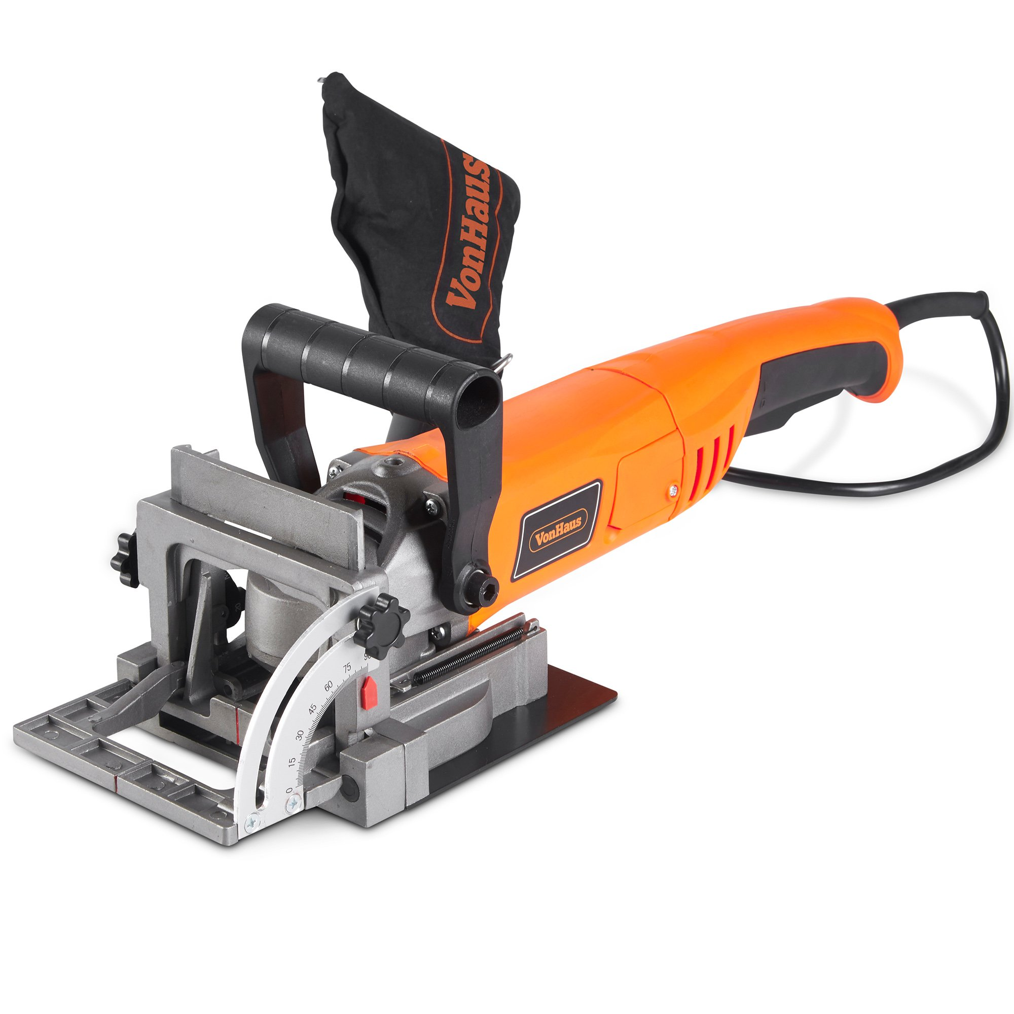 VonHaus 8.5 Amp Wood Biscuit Plate Joiner with 4'' Tungsten Carbide Tipped Blade, Adjustable Angle and Dust Bag - Suitable For All Wood Types