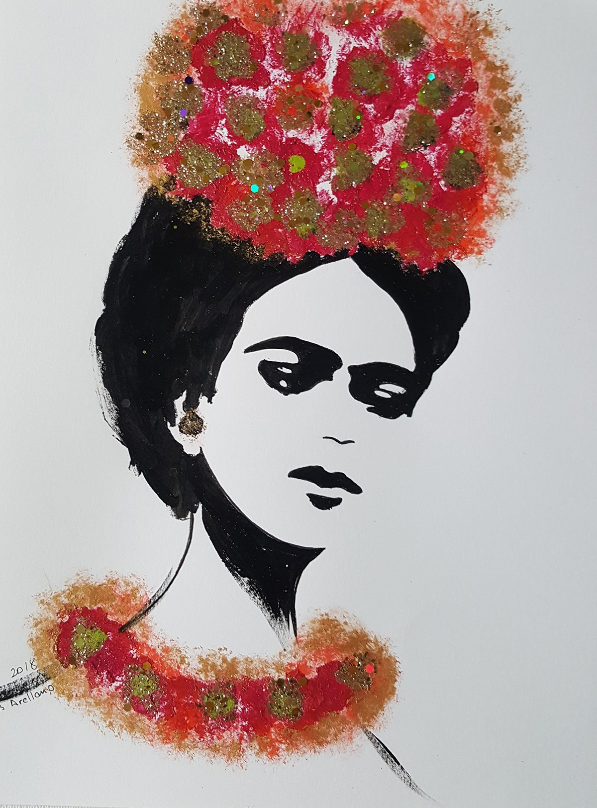 FRIDA KAHLO - RED FLOWERS - Abstract - POP - MEXICAN FOLK ART Style :: ORIGINAL PAINTING - Acrylics and Ink - Modern Painting on Heavy White Paper - SIZE:11''x8.5'' - Signed by the Artist by Santos Arellano - Art & Crafts