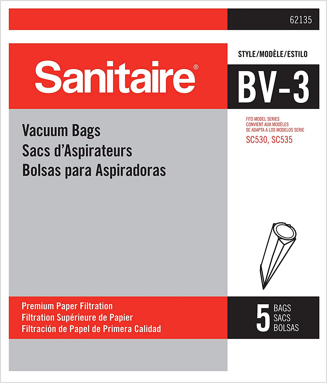 Sanitaire Replacement SC530 Series Disposable Vacuum Bag, X-Large, White, 5
