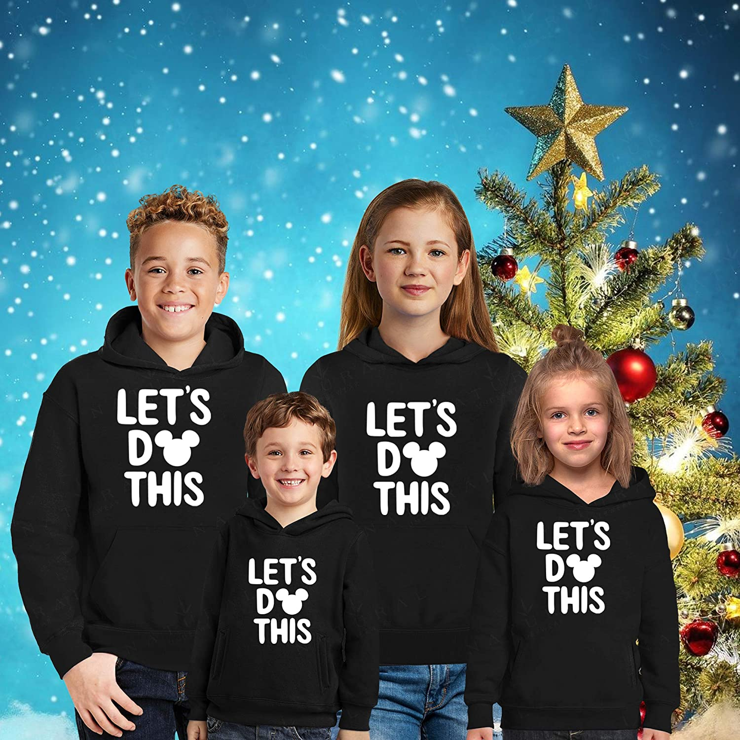 Natural Underwear Family Trip Kids Youth Hoodies 2019#4 Lets Do This Mickey Mouse Minnie Mouse Magic Kingdom Vacation Castle Youth Kids Boys Girls Hooded Sweatshirts Sweaters Black Girls Medium