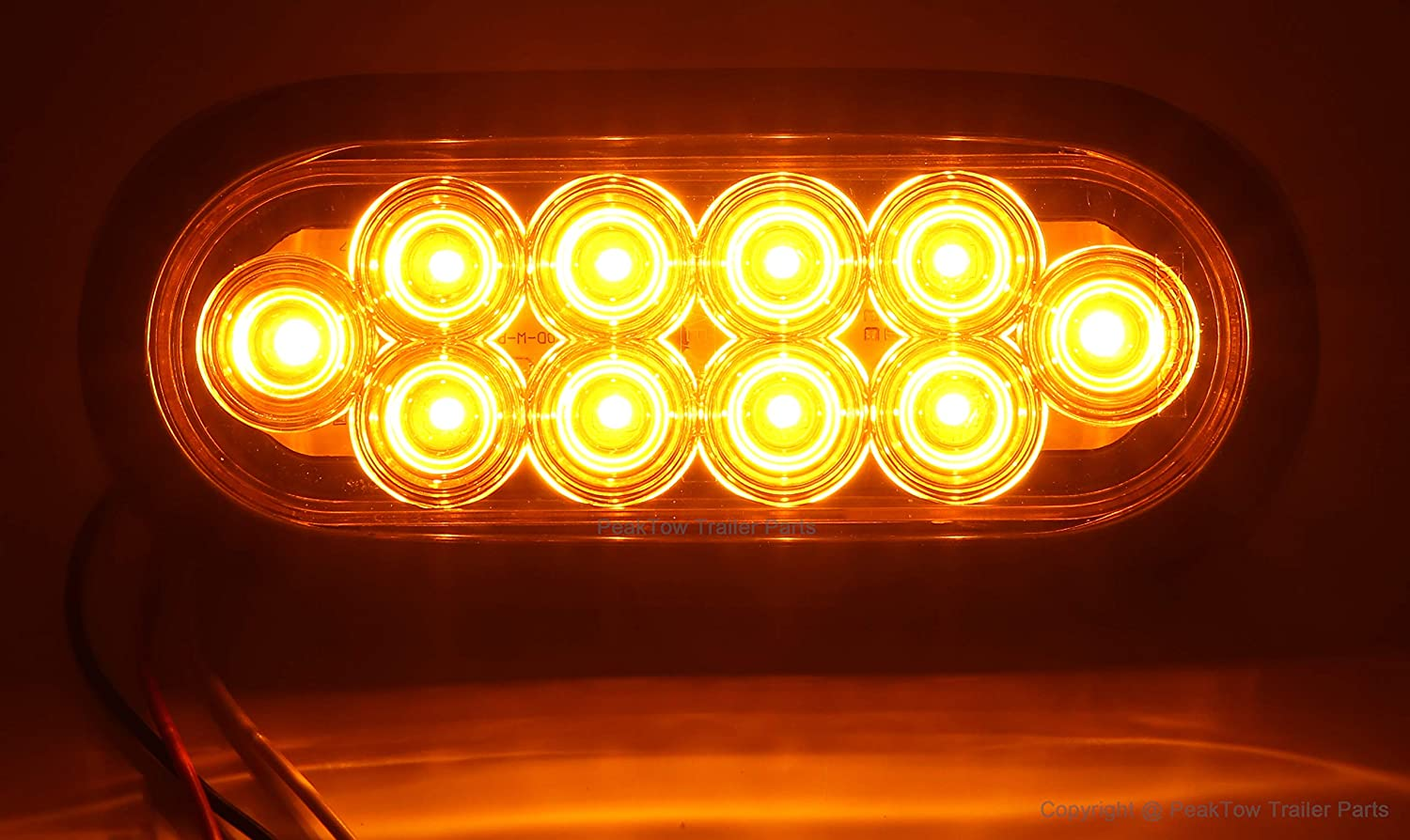 PEAKTOW PTL0432 Oval 6 Inches Amber LED Submersible Stop//Turn//Tail Trailer Truck RV Lights Including Grommets and Plugs Pack of 2