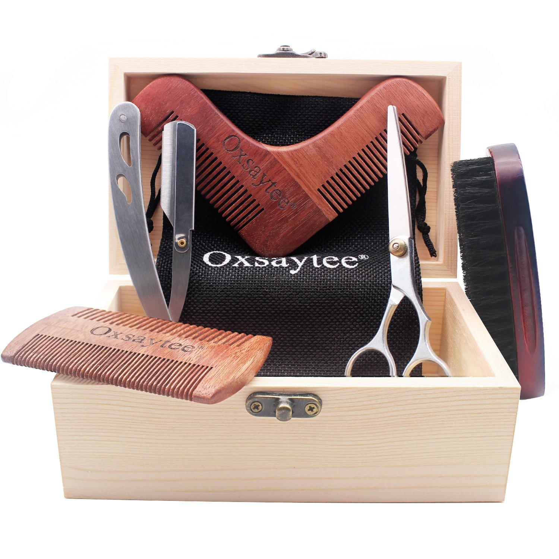 Beard Care Kit, Beard Brush + Beard Comb + Beard Shaper + Scissors + Razor Set for Men, Beard Grooming Kit for Home and Travel with Wooden Box, Ideal Gift for Men-Dad's Birthday Father's Day Oxsaytee Ox-b-001