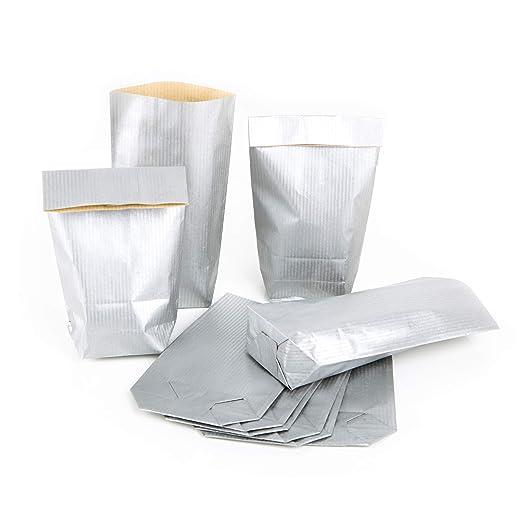 25 Bolsas de papel pequeñas Mini 9 x 15 x 3,5 Plata del ...