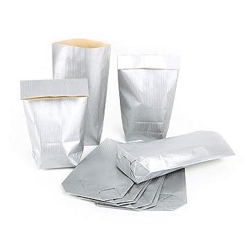 100 Bolsas de papel pequeñas Mini 9 x 15 x 3,5 Plata del ...