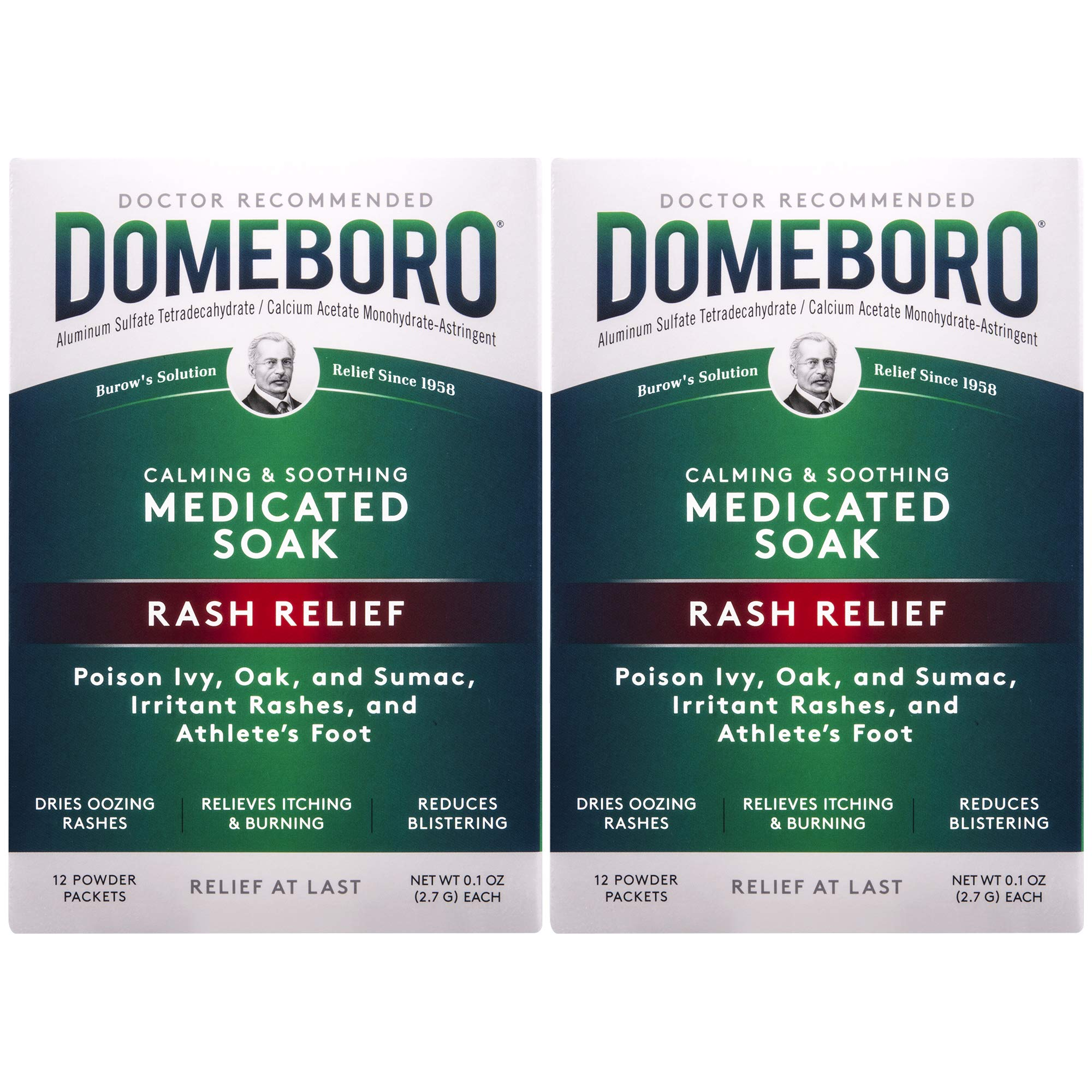 Domeboro Medicated Soak Rash Relief (Burow's Solution), 12 Powder Packets (Pack of 2) by Domeboro