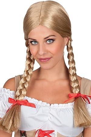 Peluca Heidi de Boland 86117 con trenzas trenzadas, rubia ...