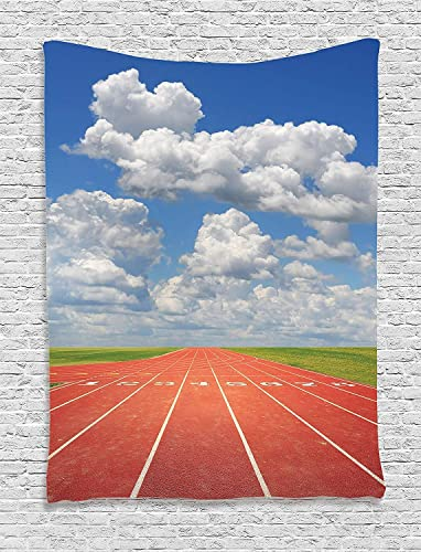 Ambesonne Olympics Tapestry, Sports Competition Running Track on a Sunny Day Lawn Grass Field Cloudy, Wall Hanging for Bedroom Living Room Dorm Decor, 40 X 60 , Sky Blue