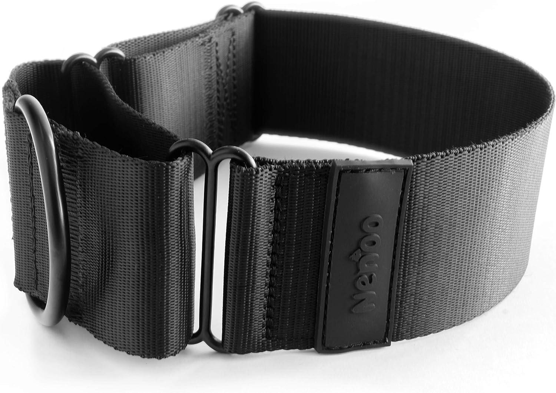 Nenoo Collar Martingale para Perros Fuertes y Perros Que Escapan. Todo Negro. 32-40 cm