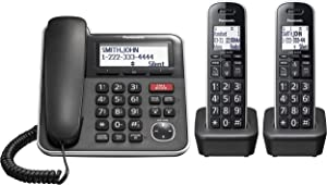 Panasonic Expandable Corded/Cordless Phone System with Answering Machine and One Touch Call Blocking – 2 Handsets - KX-TGB852B (Black)