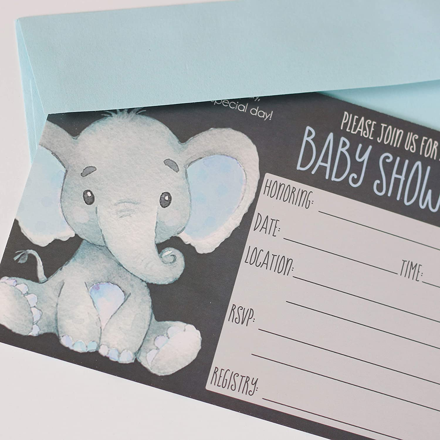 20 Ct Blue Includes White A7 Envelopes 5x7 Cards with Chalkboard Background Party Printery Elephant Baby Shower Invitations Boy Boy Baby Shower Fill in Style and Blue and Grey Polka Dot Background