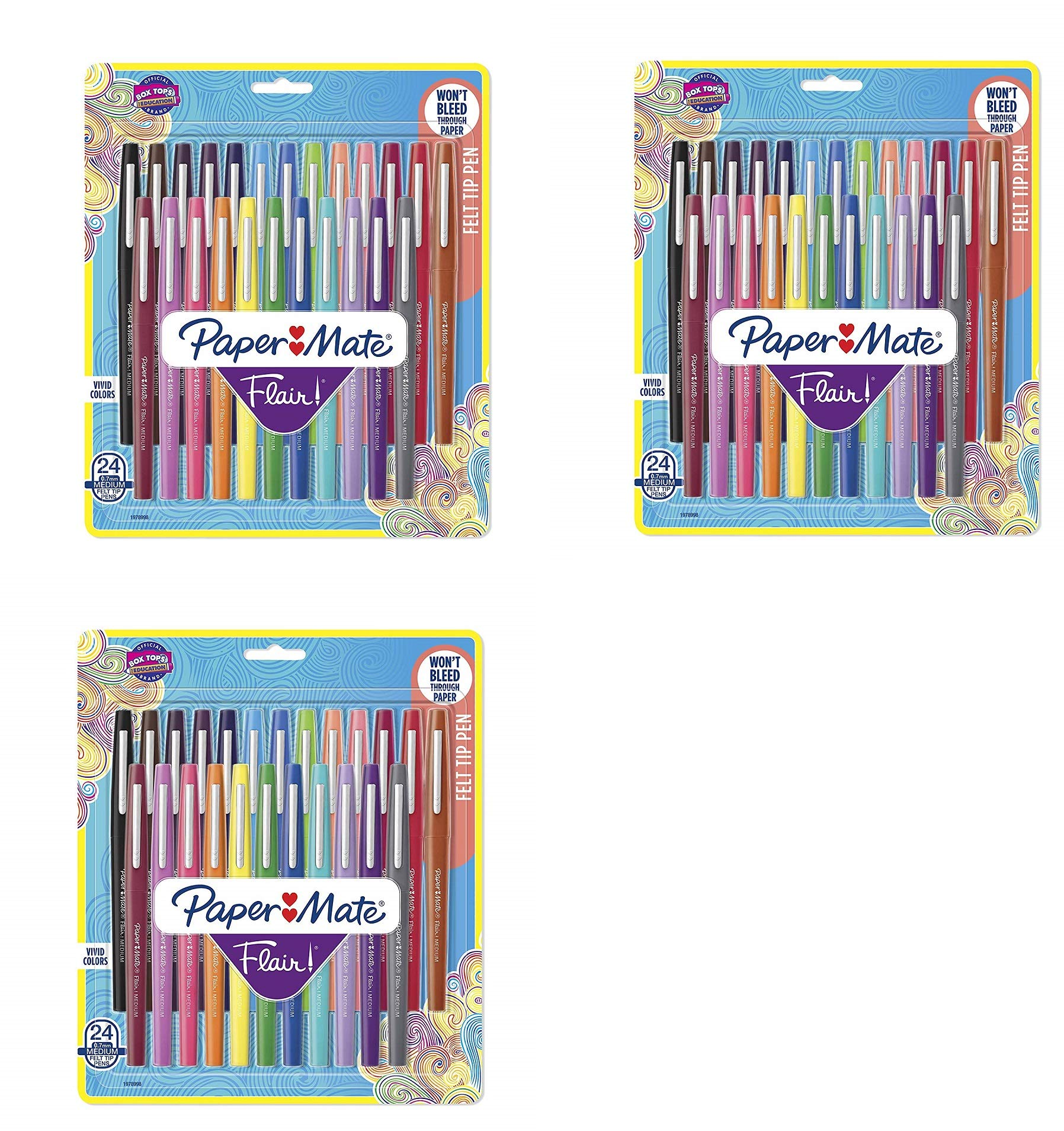 Flair Felt Tip Pens, Medium Point (0.7mm), Assorted Colors, 24 Count,