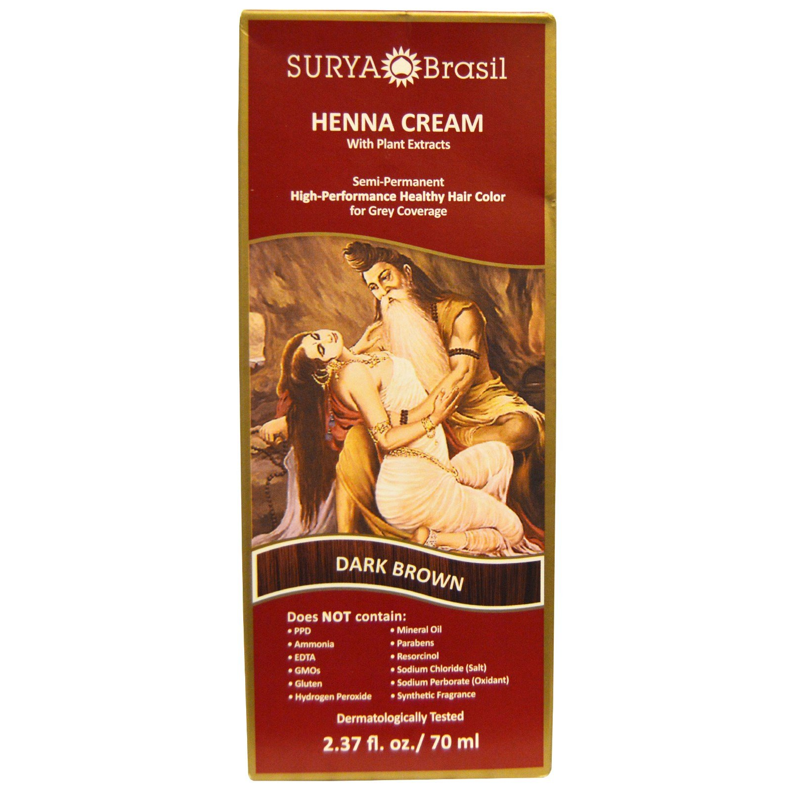 Surya Henna, Henna Cream, High-Performance Healthy Hair Color for Grey Coverage, Dark Brown, 2.37 fl oz (70 ml) - 2pc by