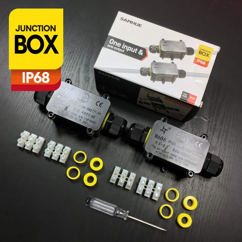SAMHUE IP68 /Étanche 2 En Plein Air C/âble En Plastique Connecteur Bo/îte de Jonction /Électrique Pour 4mm-12mm Diam/ètre du C/âble