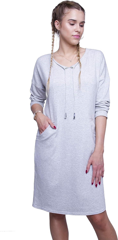 Romens Ltd Donne Casuale Abito Manica Lunga Dress Mini Vestito