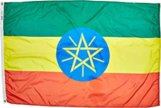 product image for Annin Flagmakers Model 192546 Ethiopia Flag Nylon SolarGuard NYL-Glo, 4x6 ft, 100% Made in USA to Official United Nations Design Specifications